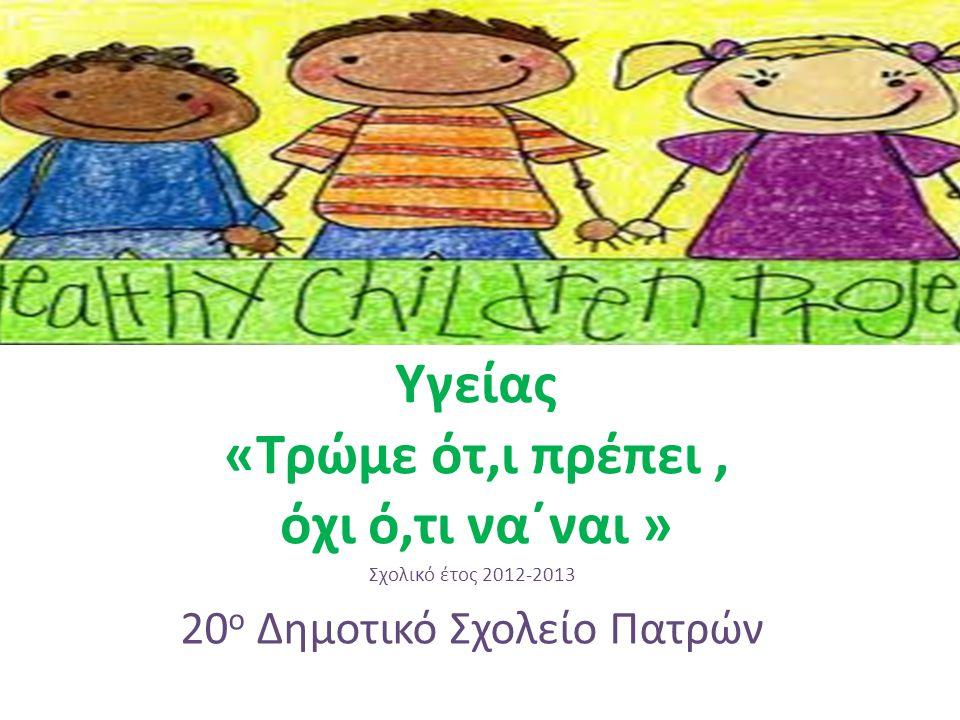 Πρόγραμμα Αγωγής Υγείας «Τρώμε ότ,ι πρέπει, όχι ό,τι να΄ναι » Σχολικό έτος 2012-2013 20 ο Δημοτικό Σχολείο Πατρών