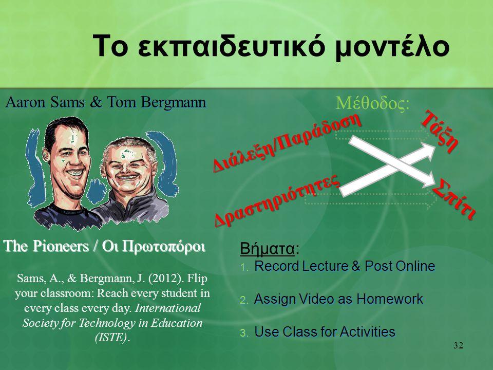 Το εκπαιδευτικό μοντέλο Βήματα: 1. Record Lecture & Post Online 2.