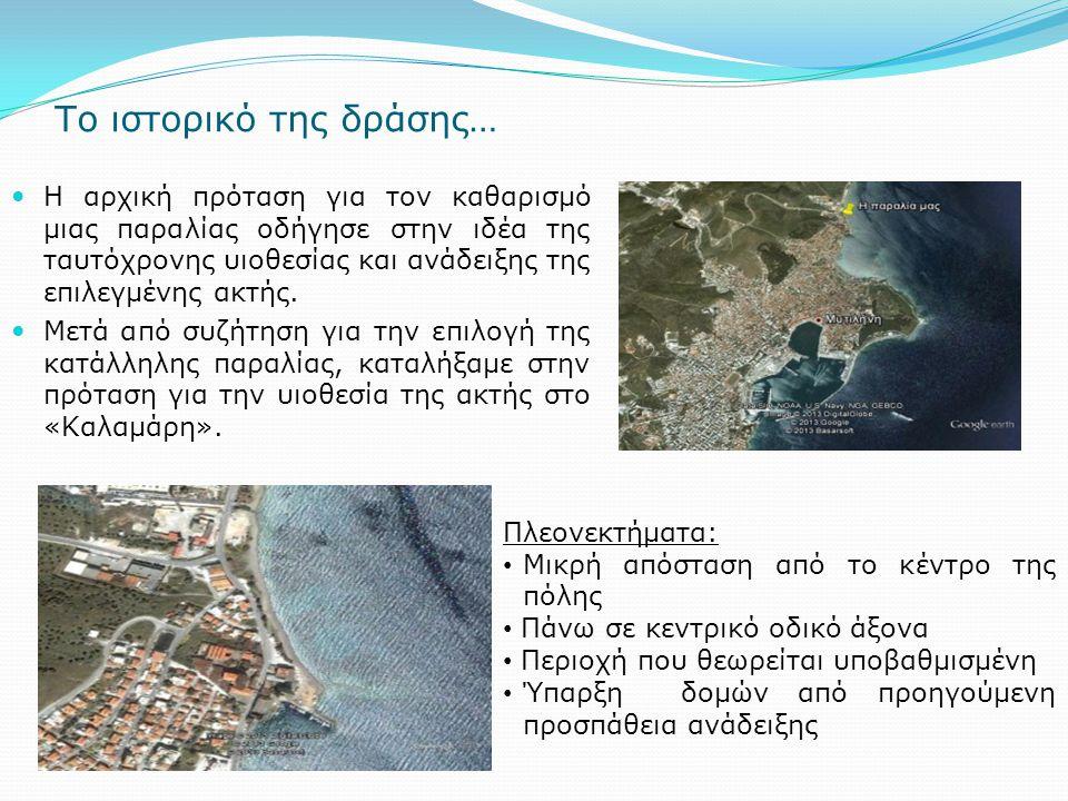 Το ιστορικό της δράσης… Η αρχική πρόταση για τον καθαρισμό μιας παραλίας οδήγησε στην ιδέα της ταυτόχρονης υιοθεσίας και ανάδειξης της επιλεγμένης ακτ