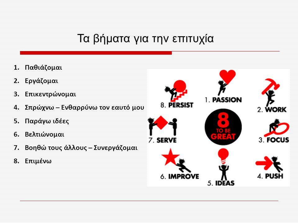 Τα βήματα για την επιτυχία 1.Παθιάζομαι 2.Εργάζομαι 3.Επικεντρώνομαι 4.Σπρώχνω – Ενθαρρύνω τον εαυτό μου 5.Παράγω ιδέες 6.Βελτιώνομαι 7.Βοηθώ τους άλλους – Συνεργάζομαι 8.Επιμένω