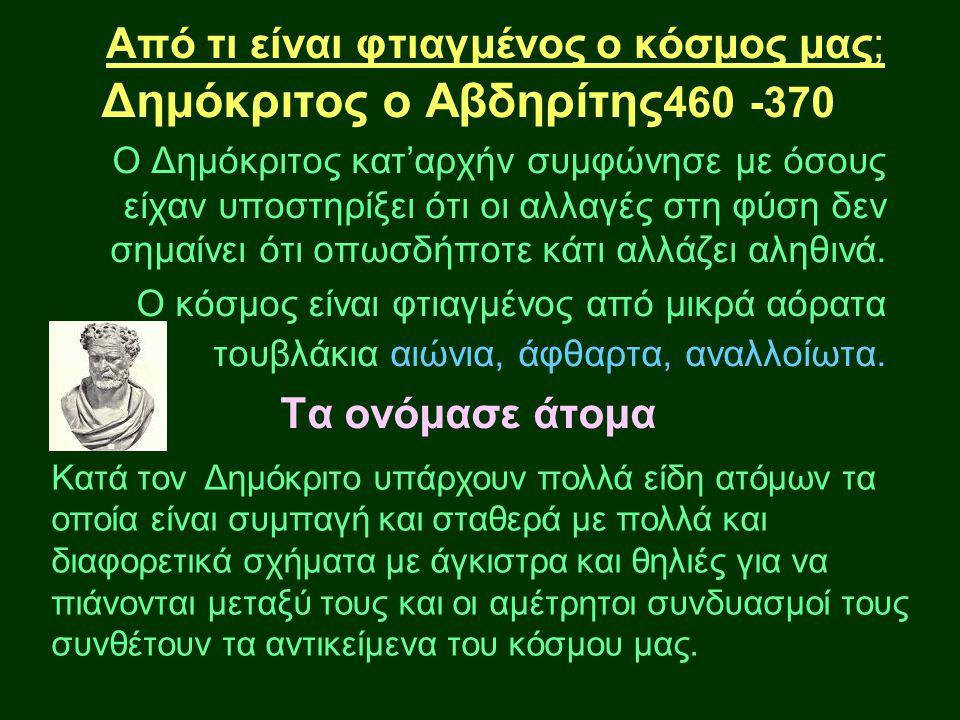 Από τι είναι φτιαγμένος ο κόσμος μας; Δημόκριτος ο Αβδηρίτης 460 -370 Ο Δημόκριτος κατ'αρχήν συμφώνησε με όσους είχαν υποστηρίξει ότι οι αλλαγές στη φ