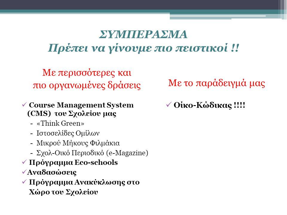 ΣΥΜΠΕΡΑΣΜΑ Πρέπει να γίνουμε πιο πειστικοί !! Με περισσότερες και πιο οργανωμένες δράσεις Course Management System (CMS) του Σχολείου μας - «Think Gre