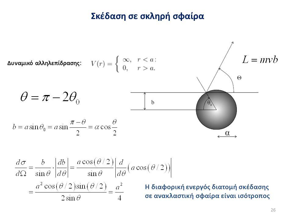 Σκέδαση σε σκληρή σφαίρα Δυναμικό αλληλεπίδρασης : Η διαφορική ενεργός διατομή σκέδασης σε ανακλαστική σφαίρα είναι ισότροπος 26