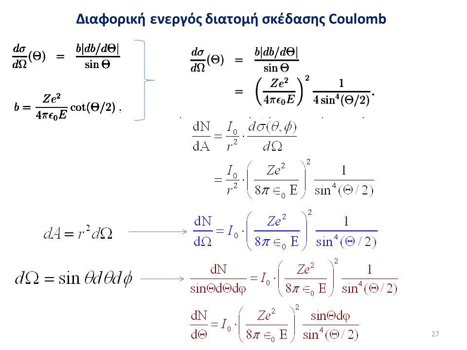 Διαφορική ενεργός διατομή σκέδασης Coulomb 27