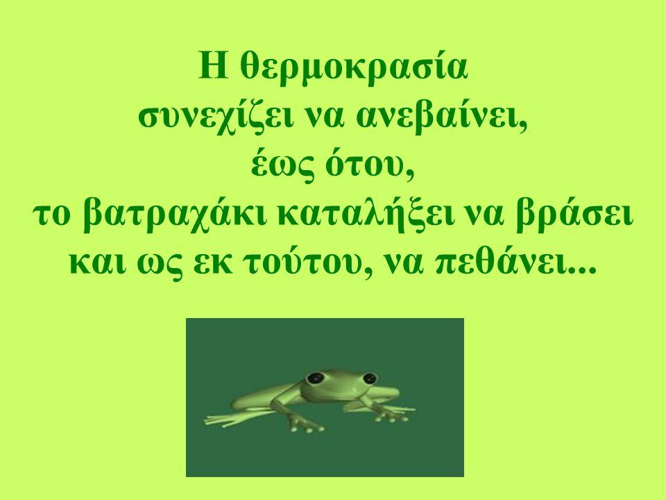 Η θερμοκρασία συνεχίζει να ανεβαίνει, έως ότου, το βατραχάκι καταλήξει να βράσει και ως εκ τούτου, να πεθάνει...