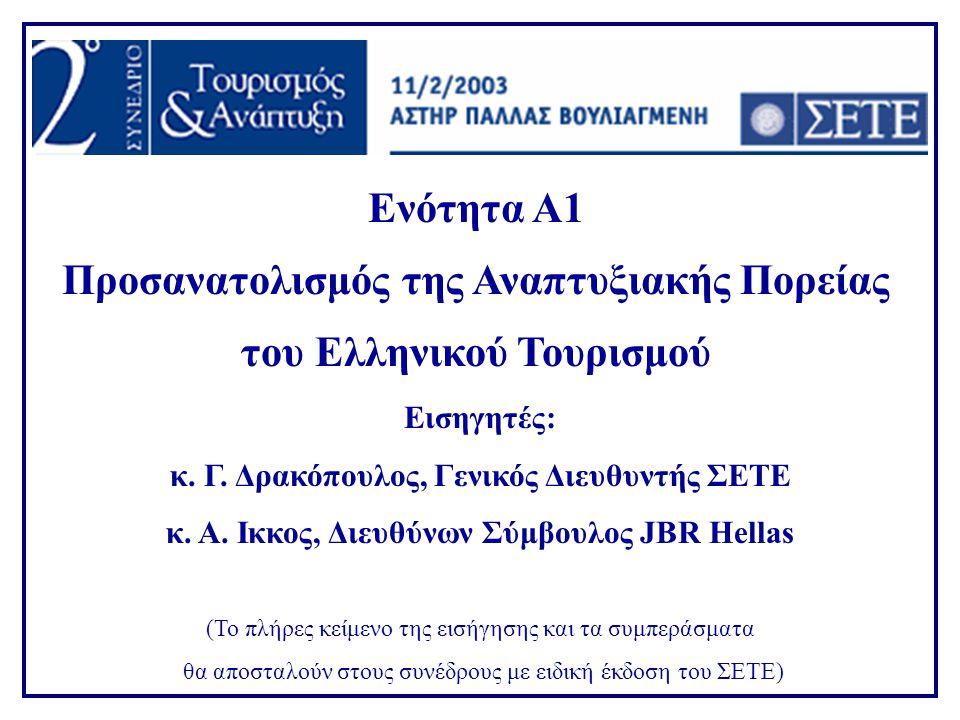 Ενότητα Α1 Προσανατολισμός της Αναπτυξιακής Πορείας του Ελληνικού Τουρισμού Εισηγητές: κ.