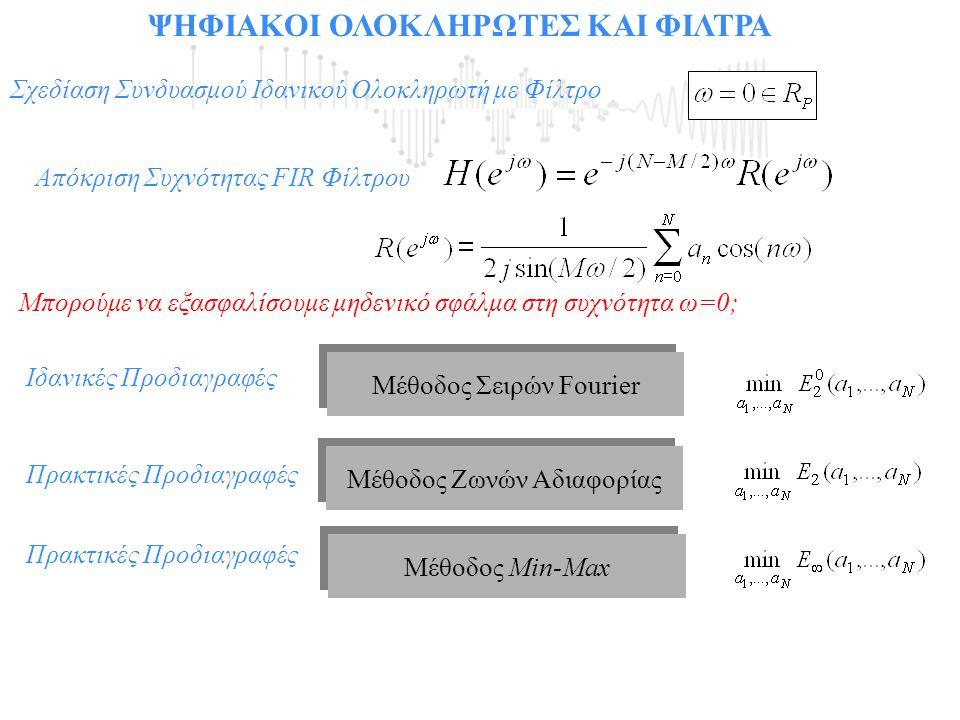 ΨΗΦΙΑΚΟΙ ΟΛΟΚΛΗΡΩΤΕΣ ΚΑΙ ΦΙΛΤΡΑ Σχεδίαση Συνδυασμού Ιδανικού Ολοκληρωτή με Φίλτρο Μέθοδος Ζωνών Αδιαφορίας Μέθοδος Min-Max Μέθοδος Σειρών Fourier Ιδαν