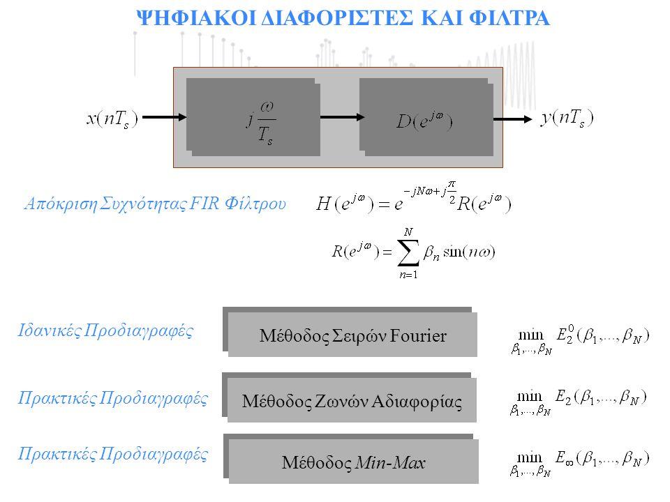 ΨΗΦΙΑΚΟΙ ΔΙΑΦΟΡΙΣΤΕΣ ΚΑΙ ΦΙΛΤΡΑ Μέθοδος Ζωνών Αδιαφορίας Μέθοδος Min-Max Μέθοδος Σειρών Fourier Ιδανικές Προδιαγραφές Πρακτικές Προδιαγραφές Απόκριση