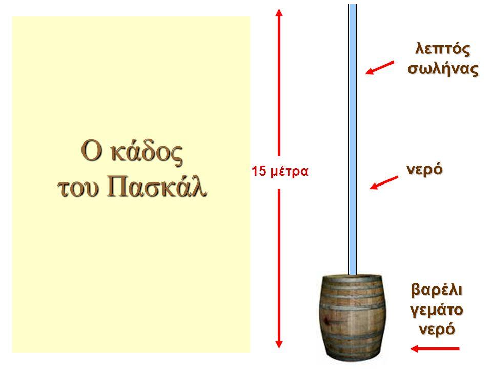 βαρέλι γεμάτο νερό Ο κάδος του Πασκάλ 15 μέτρα λεπτός σωλήνας νερό