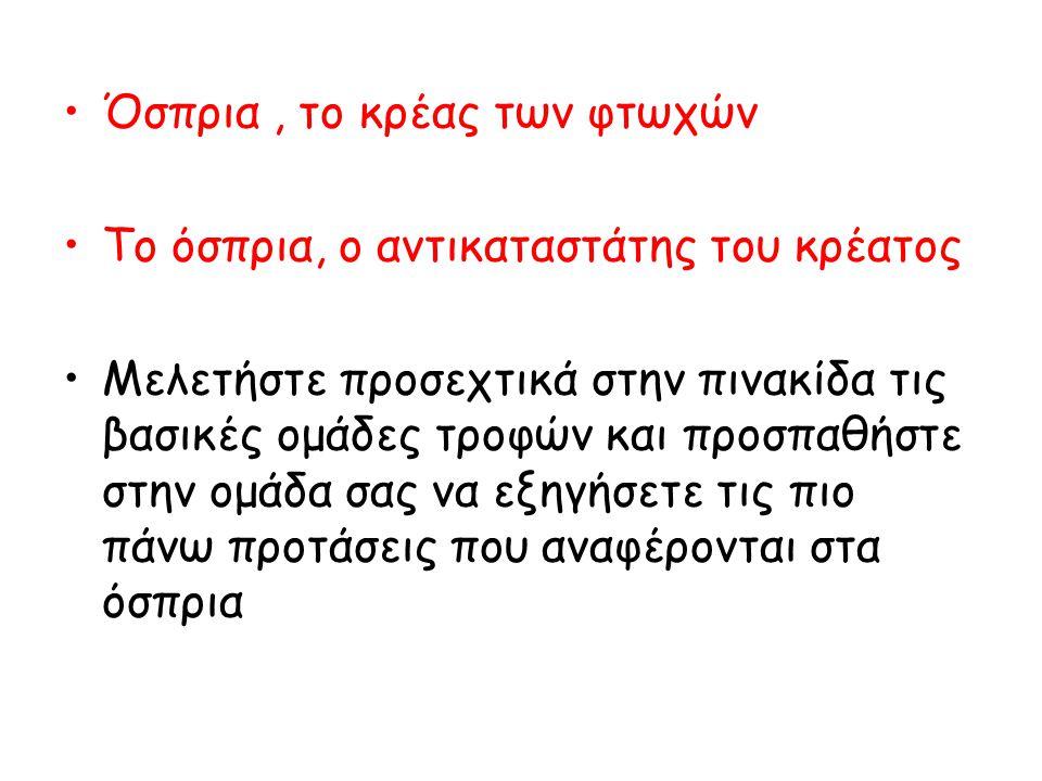 Όσπρια, το κρέας των φτωχών Το όσπρια, ο αντικαταστάτης του κρέατος Μελετήστε προσεχτικά στην πινακίδα τις βασικές ομάδες τροφών και προσπαθήστε στην