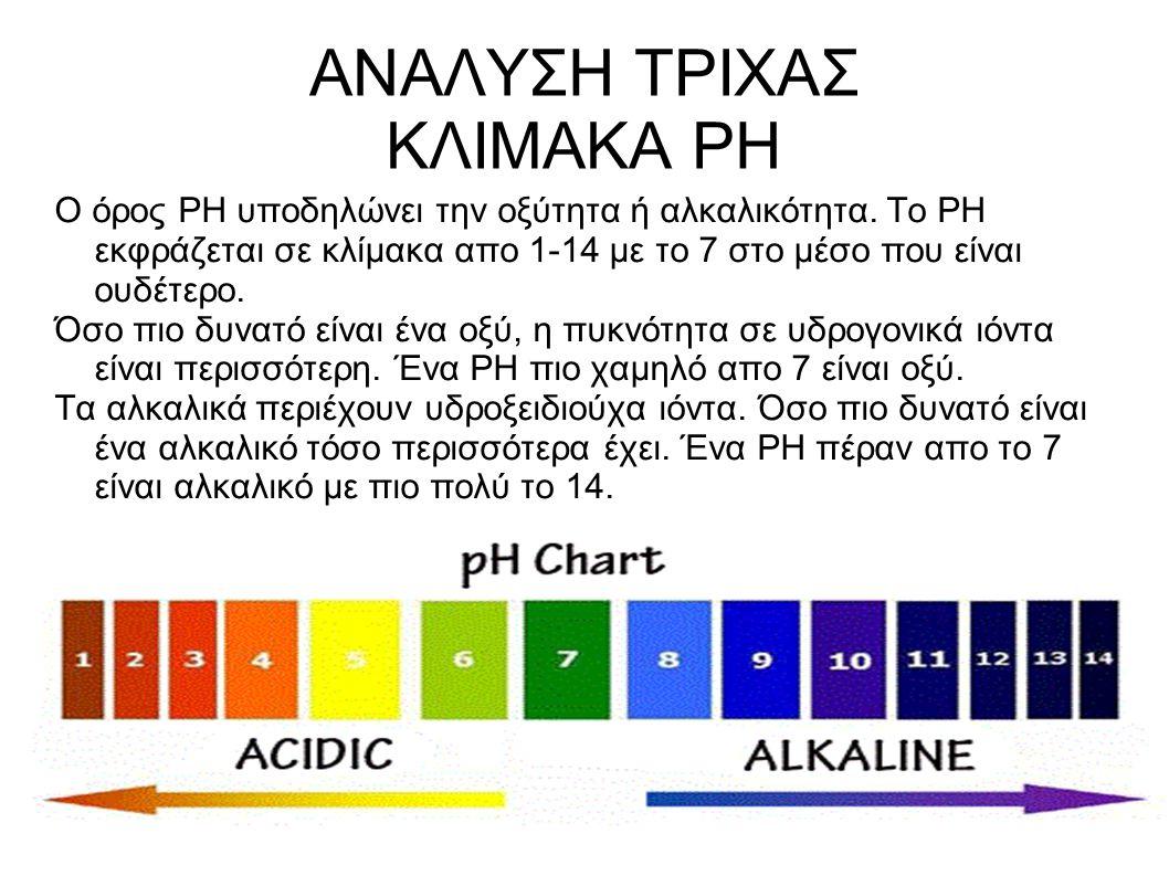 ΑΝΑΛΥΣΗ ΤΡΙΧΑΣ ΚΛΙΜΑΚΑ PH O όρος ΡΗ υποδηλώνει την οξύτητα ή αλκαλικότητα. Το ΡΗ εκφράζεται σε κλίμακα απο 1-14 με το 7 στο μέσο που είναι ουδέτερο. Ό