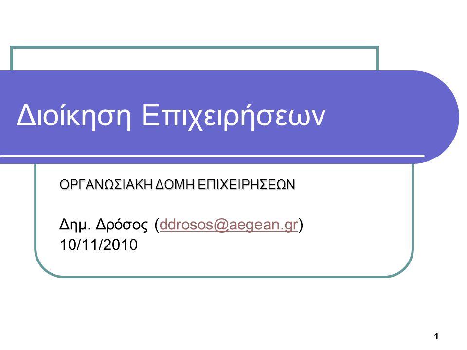 1 Διοίκηση Επιχειρήσεων ΟΡΓΑΝΩΣΙΑΚΗ ΔΟΜΗ ΕΠΙΧΕΙΡΗΣΕΩΝ Δημ. Δρόσος (ddrosos@aegean.gr)ddrosos@aegean.gr 10/11/2010