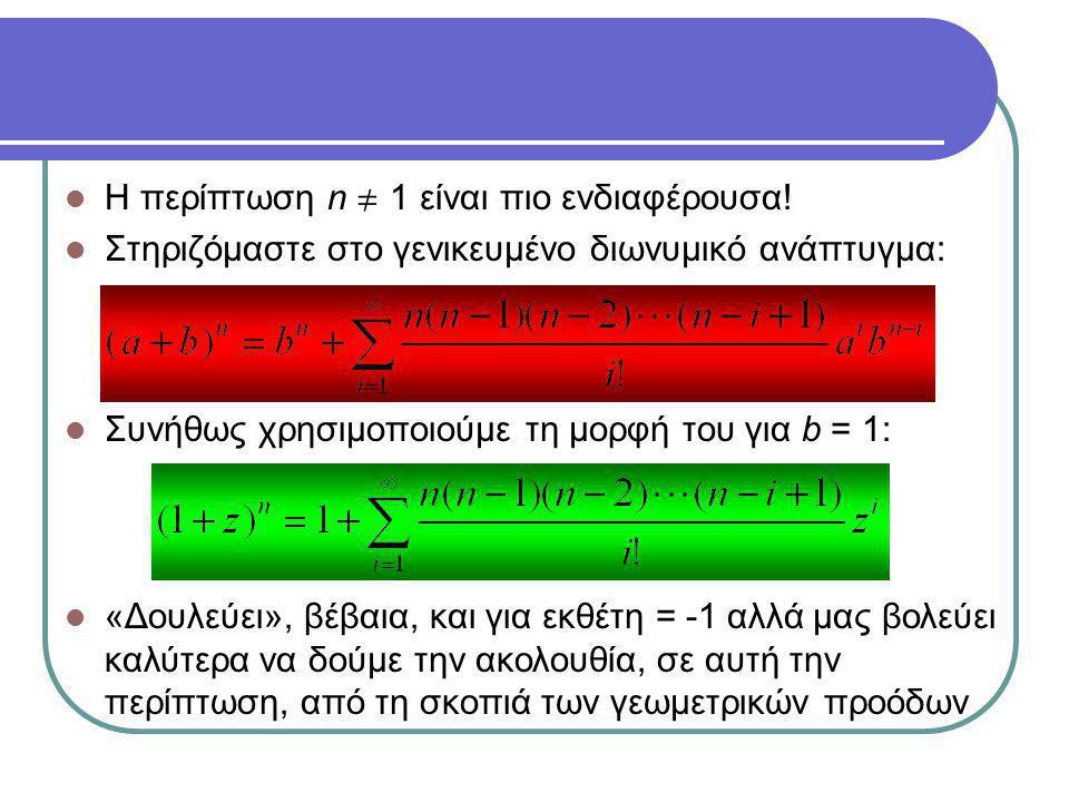 Η περίπτωση n  1 είναι πιο ενδιαφέρουσα! Στηριζόμαστε στο γενικευμένο διωνυμικό ανάπτυγμα: Συνήθως χρησιμοποιούμε τη μορφή του για b = 1: «Δουλεύει»,
