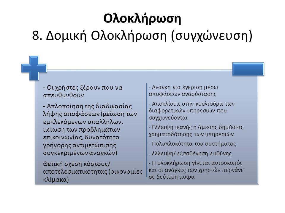 Ολοκλήρωση 8. Δομική Ολοκλήρωση (συγχώνευση) - Οι χρήστες ξέρουν που να απευθυνθούν - Απλοποίηση της διαδικασίας λήψης αποφάσεων (μείωση των εμπλεκόμε
