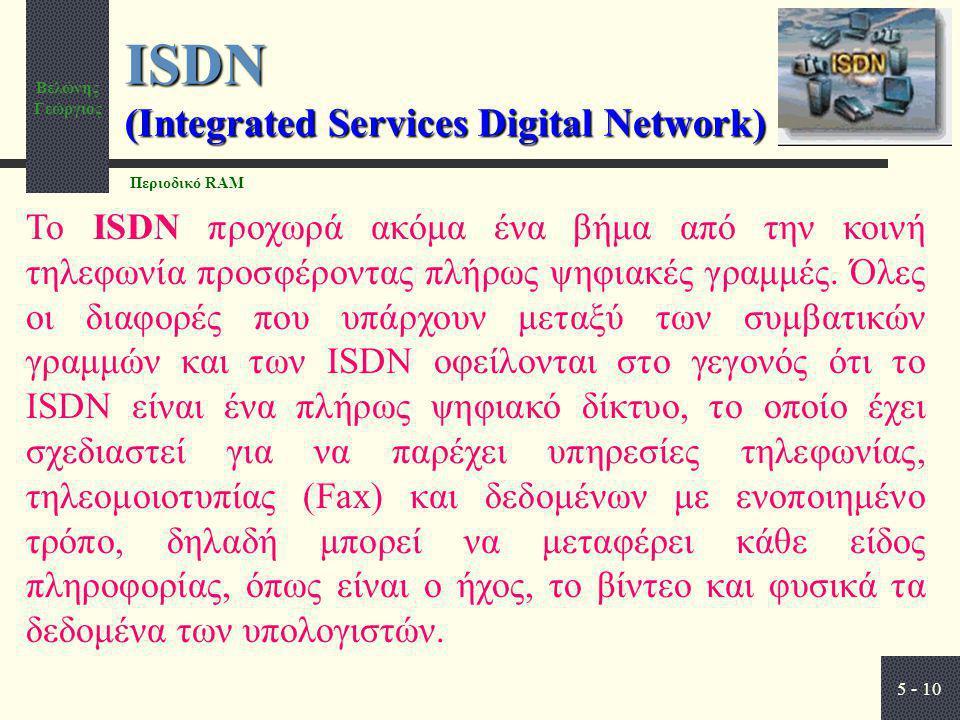 Βελώνης Γεώργιος 5 - 10 ISDN (Integrated Services Digital Network) Το ISDN προχωρά ακόμα ένα βήμα από την κοινή τηλεφωνία προσφέροντας πλήρως ψηφιακές