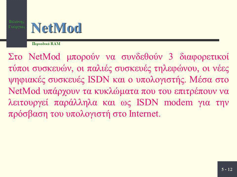 Βελώνης Γεώργιος 5 - 12 NetMod Στο NetMod μπορούν να συνδεθούν 3 διαφορετικοί τύποι συσκευών, οι παλιές συσκευές τηλεφώνου, οι νέες ψηφιακές συσκευές ISDN και ο υπολογιστής.