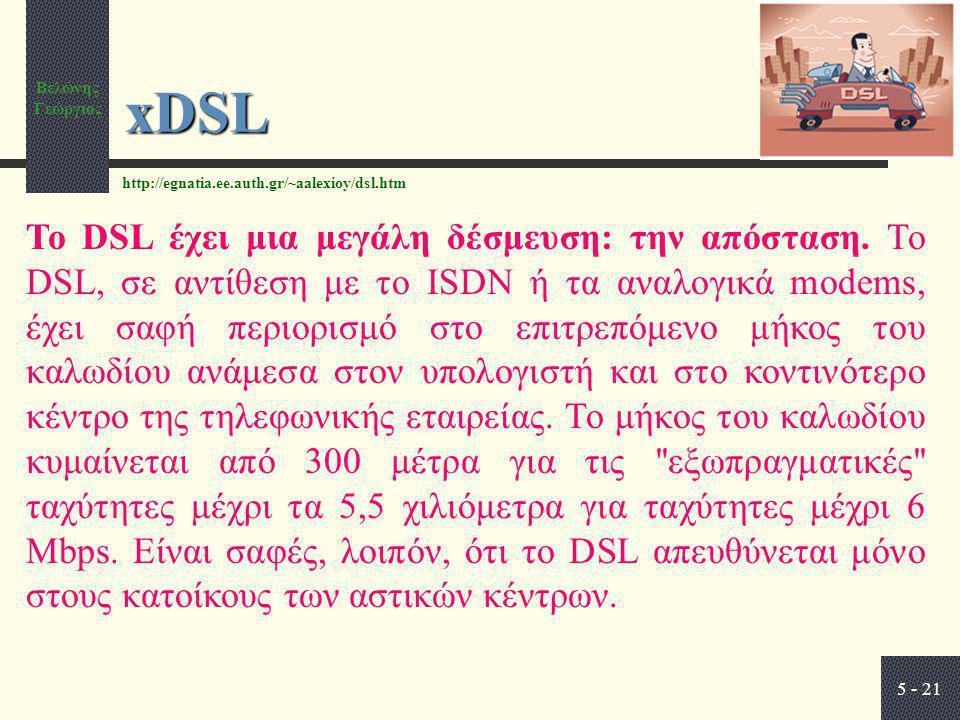 Βελώνης Γεώργιος 5 - 21 xDSL Το DSL έχει μια μεγάλη δέσμευση: την απόσταση. Το DSL, σε αντίθεση με το ISDN ή τα αναλογικά modems, έχει σαφή περιορισμό