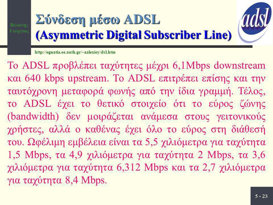 Βελώνης Γεώργιος 5 - 23 Σύνδεση μέσω ADSL (Asymmetric Digital Subscriber Line) Το ADSL προβλέπει ταχύτητες μέχρι 6,1Mbps downstream και 640 kbps upstr