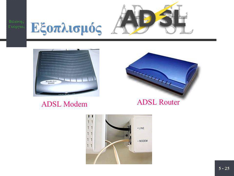 Βελώνης Γεώργιος 5 - 25 Εξοπλισμός ADSL Modem ADSL Router