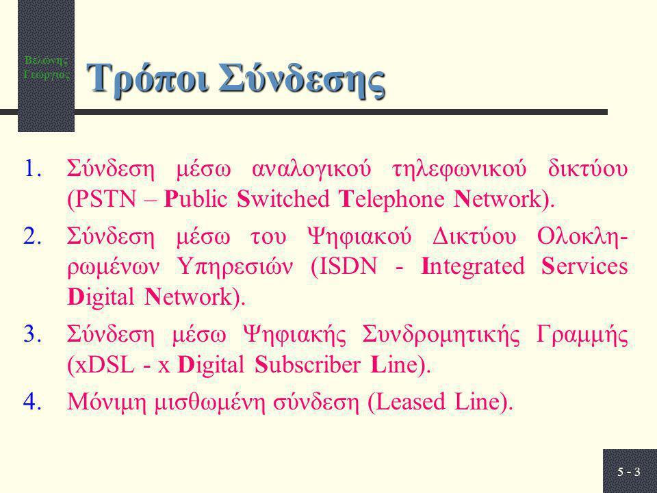 Βελώνης Γεώργιος 5 - 3 Τρόποι Σύνδεσης 1.Σύνδεση μέσω αναλογικού τηλεφωνικού δικτύου (PSTN – Public Switched Telephone Network). 2.Σύνδεση μέσω του Ψη