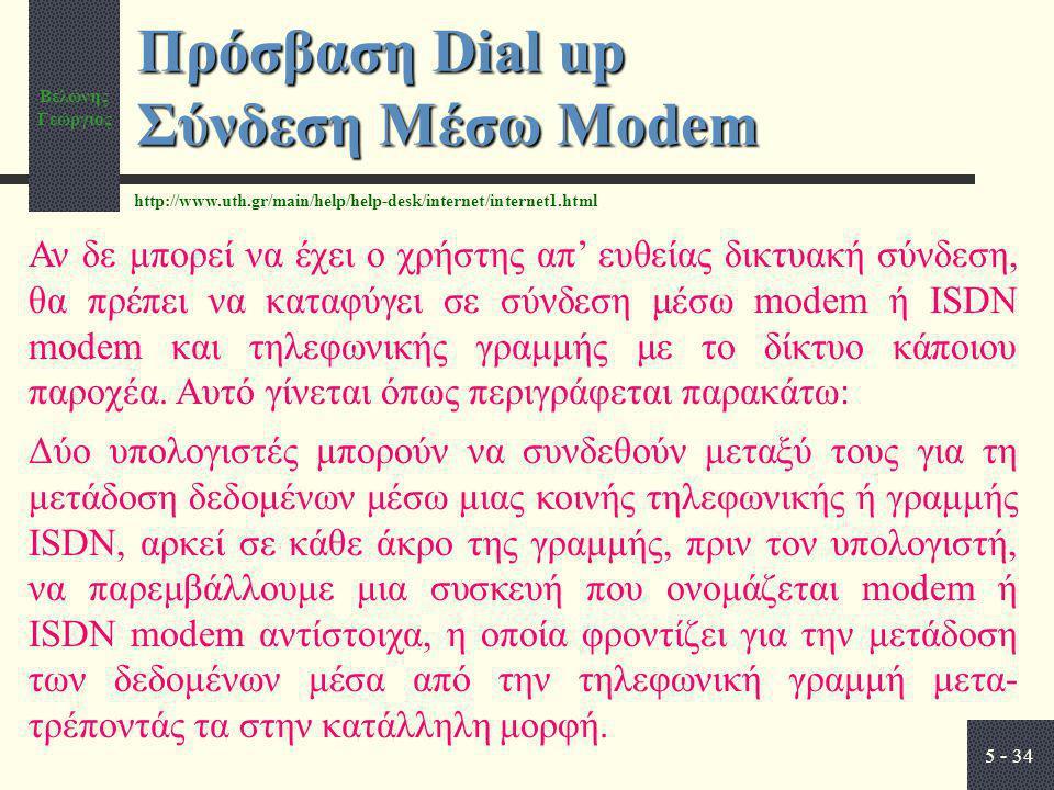 Βελώνης Γεώργιος 5 - 34 Πρόσβαση Dial up Σύνδεση Μέσω Modem Αν δε μπορεί να έχει ο χρήστης απ' ευθείας δικτυακή σύνδεση, θα πρέπει να καταφύγει σε σύνδεση μέσω modem ή ISDN modem και τηλεφωνικής γραμμής με το δίκτυο κάποιου παροχέα.
