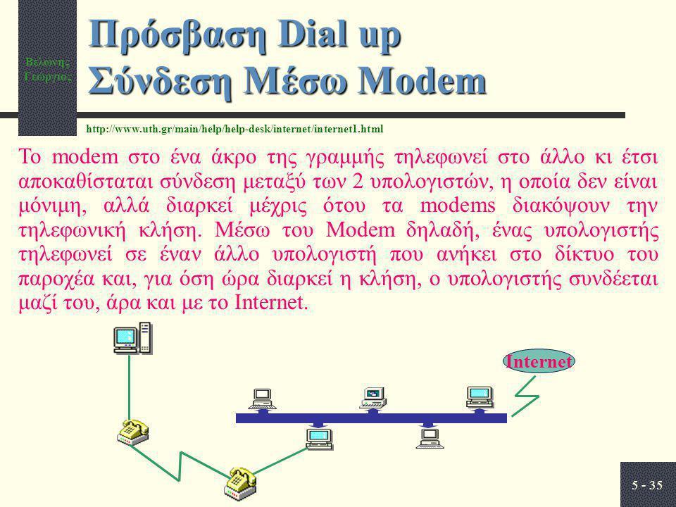 Βελώνης Γεώργιος 5 - 35 Πρόσβαση Dial up Σύνδεση Μέσω Modem Internet Το modem στο ένα άκρο της γραμμής τηλεφωνεί στο άλλο κι έτσι αποκαθίσταται σύνδεση μεταξύ των 2 υπολογιστών, η οποία δεν είναι μόνιμη, αλλά διαρκεί μέχρις ότου τα modems διακόψουν την τηλεφωνική κλήση.