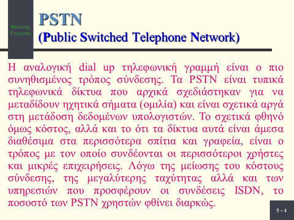 Βελώνης Γεώργιος 5 - 4 PSTN (Public Switched Telephone Network) Η αναλογική dial up τηλεφωνική γραμμή είναι ο πιο συνηθισμένος τρόπος σύνδεσης. Τα PST