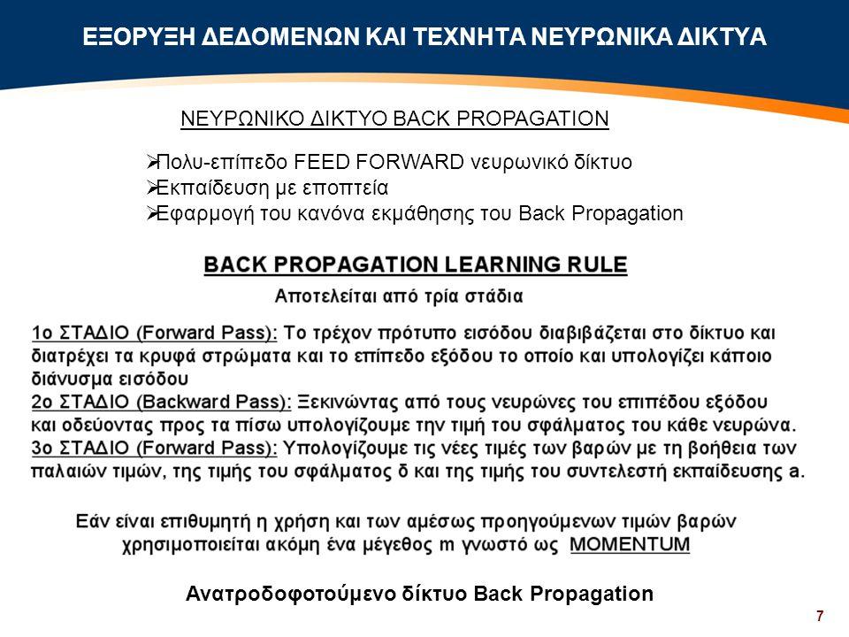 8 ΕΞΟΡΥΞΗ ΔΕΔΟΜΕΝΩΝ ΚΑΙ ΤΕΧΝΗΤΑ ΝΕΥΡΩΝΙΚΑ ΔΙΚΤΥΑ ΝΕΥΡΩΝΙΚΟ ΔΙΚΤΥΟ RBF (RADIAL BASIS FUNCTION NETWORK) Η εκπαίδευση του δικτύου συνίσταται στην ταυτοποίηση των κέντρων ενώ η προσαρμογή των βαρών των νευρώνων του επιπέδου εξόδου πραγματοποιείται με τη μέθοδο των ελαχίστων τετραγώνων.