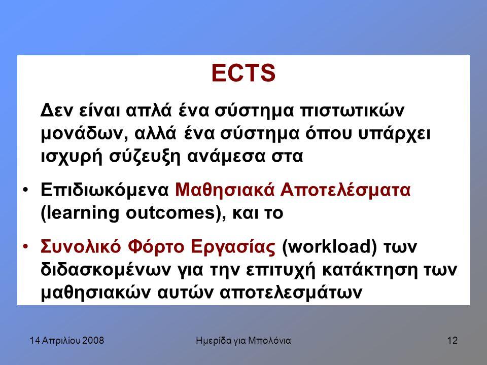 14 Απριλίου 2008Ημερίδα για Μπολόνια12 ECTS Δεν είναι απλά ένα σύστημα πιστωτικών μονάδων, αλλά ένα σύστημα όπου υπάρχει ισχυρή σύζευξη ανάμεσα στα Επιδιωκόμενα Μαθησιακά Αποτελέσματα (learning outcomes), και το Συνολικό Φόρτο Εργασίας (workload) των διδασκομένων για την επιτυχή κατάκτηση των μαθησιακών αυτών αποτελεσμάτων