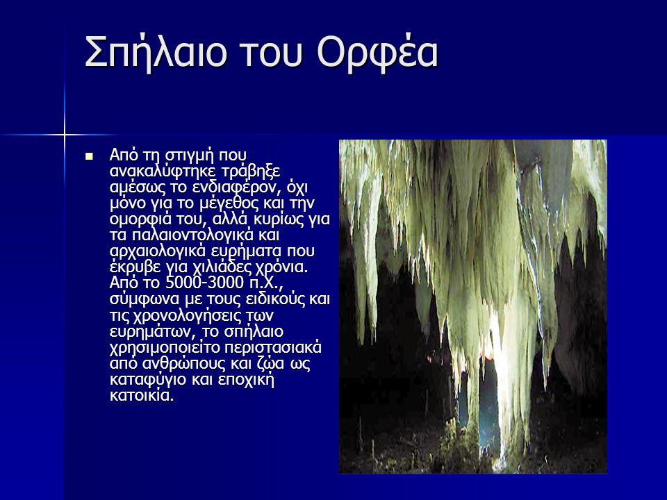 Σπήλαιο του Ορφέα Από τη στιγμή που ανακαλύφτηκε τράβηξε αμέσως το ενδιαφέρον, όχι μόνο για το μέγεθος και την ομορφιά του, αλλά κυρίως για τα παλαιον