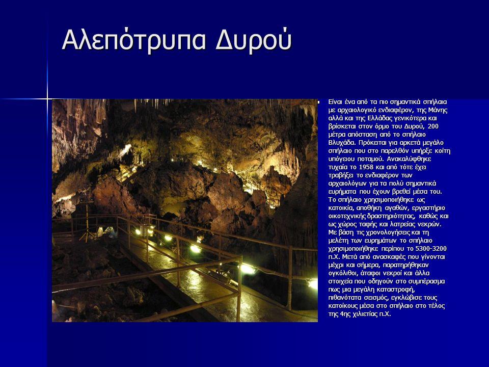Αλεπότρυπα Δυρού Είναι ένα από τα πιο σημαντικά σπήλαια με αρχαιολογικό ενδιαφέρον, της Μάνης αλλά και της Ελλάδας γενικότερα και βρίσκεται στον όρμο