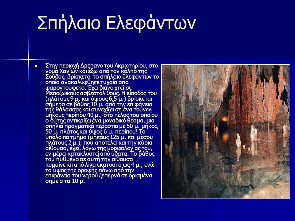 Σπήλαιο Ελεφάντων Στην περιοχή Δρέπανο του Ακρωτηρίου, στο νομό Χανίων και έξω από τον κόλπο της Σούδας, βρίσκεται το σπήλαιο Ελεφάντων το οποίο ανακα