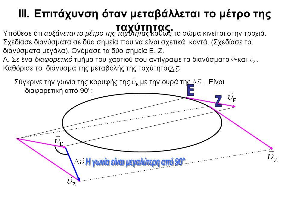 Β. Υπόθεσε ότι διαλέγεις ένα νέο σημείο στην τροχιά με διαφορετική καμπυλότητα από αυτή που έχει το σημείο Γ. Σύγκρινε την επιτάχυνση σ' αυτό το σημεί