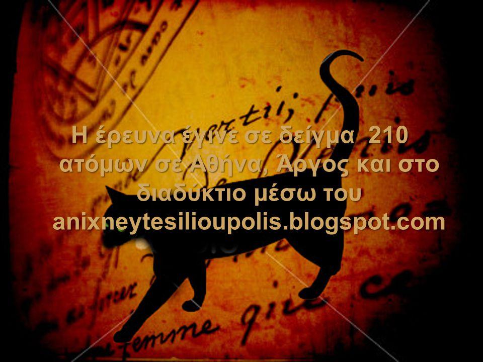 Η έρευνα έγινε σε δείγμα 210 ατόμων σε Αθήνα, Άργος και στο διαδύκτιο μέσω του anixneytesilioupolis.blogspot.com