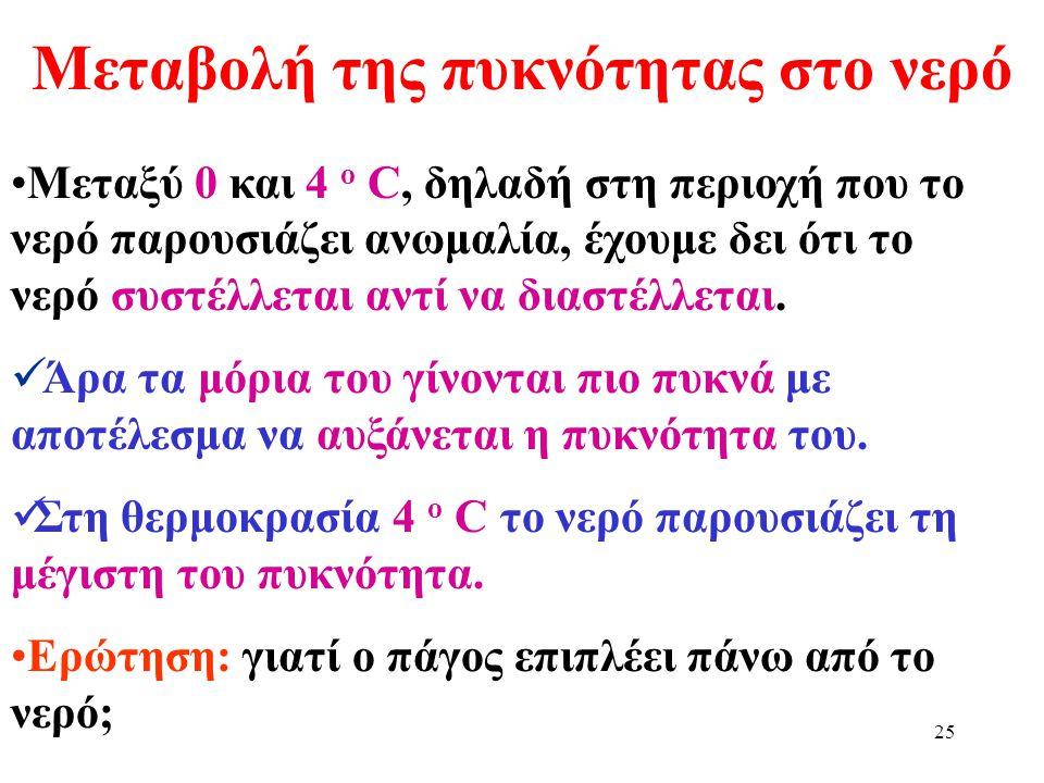 24 Γραφική παράσταση όγκου σε σχέση με τη θερμοκρασία Ο όγκος του νερού στους 4 ο C είναι ο ελάχιστος. Η πυκνότητα του νερού στους 4 ο C είναι η μέγισ