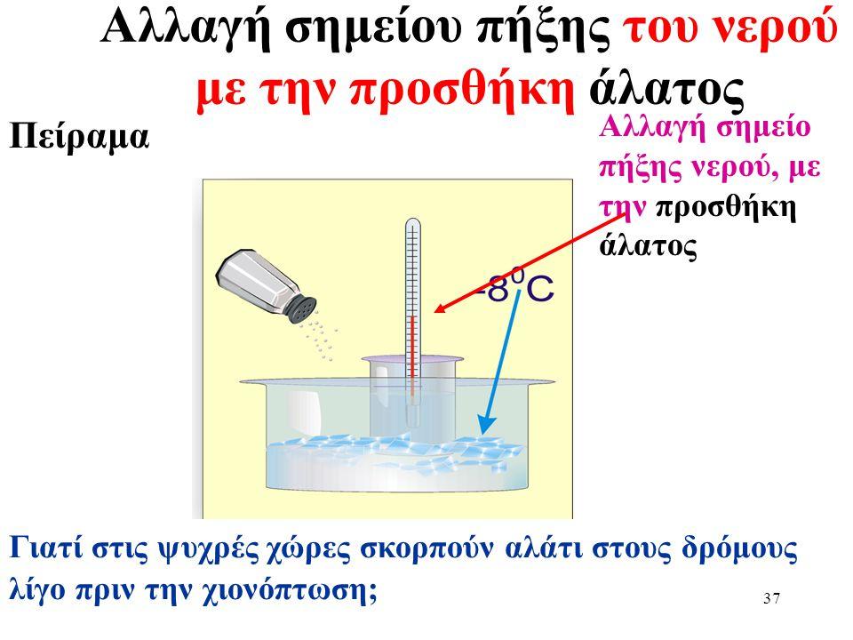 36 Εξάτμιση (βρασμός) Πείραμα Η θερμοκρασία του νερού παραμένει σταθερή (στους 100 ο C) μέχρι να εξατμοσθεί όλο το νερό Σημείο εξάτμισης νερού