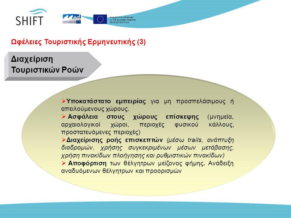 Programme cofinanced by the European Regional Development Fund Ωφέλειες Τουριστικής Ερμηνευτικής (3)  Υποκατάστατο εμπειρίας για µη προσπελάσιμους ή απειλούμενους χώρους.