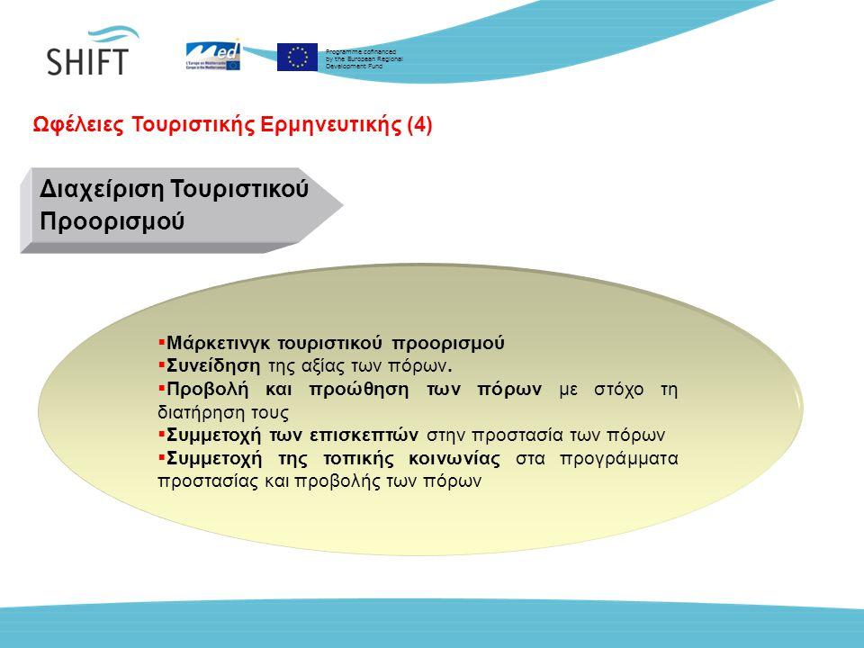 Programme cofinanced by the European Regional Development Fund Ωφέλειες Τουριστικής Ερμηνευτικής (4) Διαχείριση Τουριστικού Προορισμού  Μάρκετινγκ τουριστικού προορισμού  Συνείδηση της αξίας των πόρων.