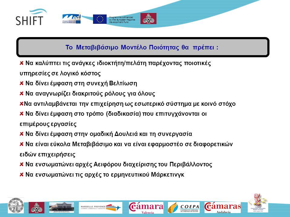 Programme cofinanced by the European Regional Development Fund Βασικές Αρχές: Η ικανοποίηση ιδιοκτήτη/πελάτη είναι το μέτρο ποιότητας Ο κάθε ένας είναι ιδιοκτήτης/πελάτης Η βελτίωση στη ποιότητα πρέπει να είναι συνεχής Η ανάλυση των διαδικασιών είναι το κλειδί για τη συνεχή βελτίωση Οι μετρήσεις, η χρήση εργαλείων ανάλυσης, η εμπλοκή των εργαζομένων είναι σημαντικές πηγές ιδεών και καινοτομίας για τη συνεχή βελτίωση της ποιότητας Ένα Βιώσιμο Μοντέλο Διαχείρισης Ποιότητας απαιτεί ενεργή, εμφανή, συνεπή, ικανή ηγεσία Είναι αναγκαίο οι παρεχόμενες υπηρεσίες και προϊόντα να βελτιώνονται συνεχώς.