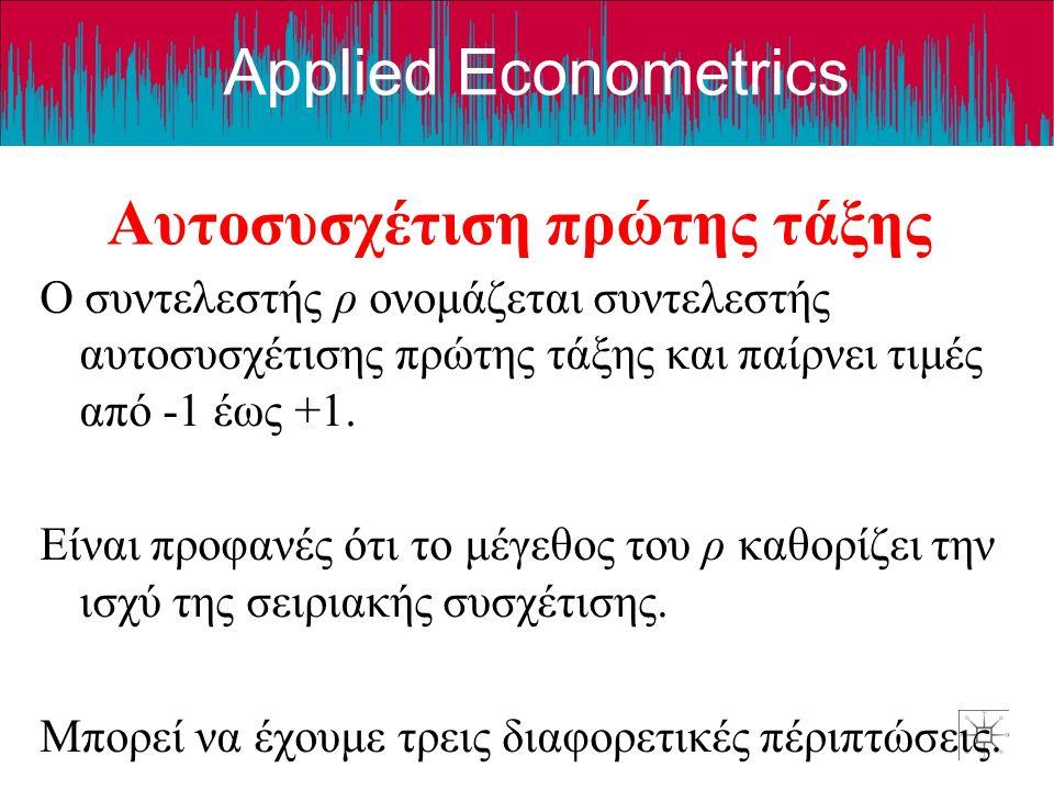 Applied Econometrics Αυτοσυσχέτιση πρώτης τάξης Ο συντελεστής ρ ονομάζεται συντελεστής αυτοσυσχέτισης πρώτης τάξης και παίρνει τιμές από -1 έως +1. Εί