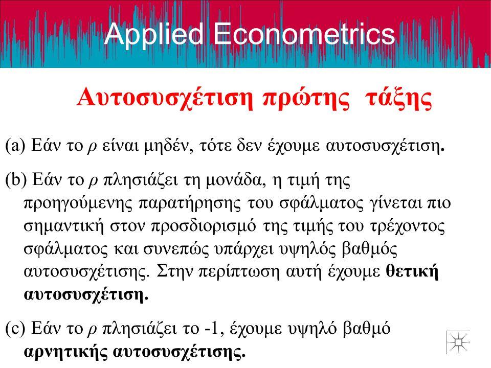 Applied Econometrics Αυτοσυσχέτιση πρώτης τάξης (a) Εάν το ρ είναι μηδέν, τότε δεν έχουμε αυτοσυσχέτιση. (b) Εάν το ρ πλησιάζει τη μονάδα, η τιμή της