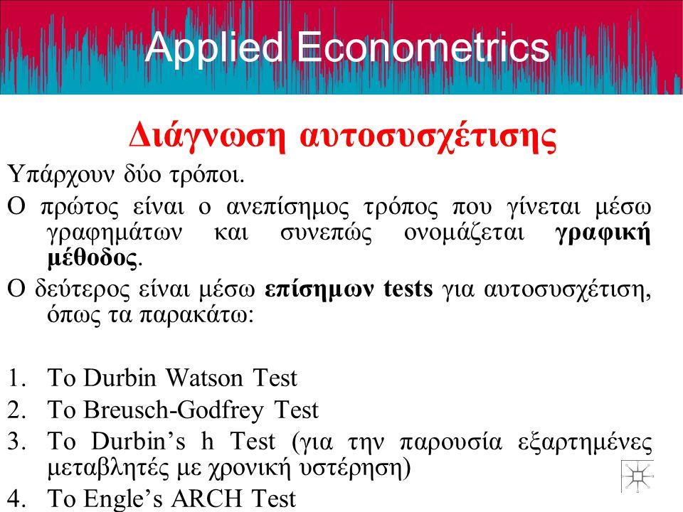 Applied Econometrics Διάγνωση αυτοσυσχέτισης Υπάρχουν δύο τρόποι. Ο πρώτος είναι ο ανεπίσημος τρόπος που γίνεται μέσω γραφημάτων και συνεπώς ονομάζετα