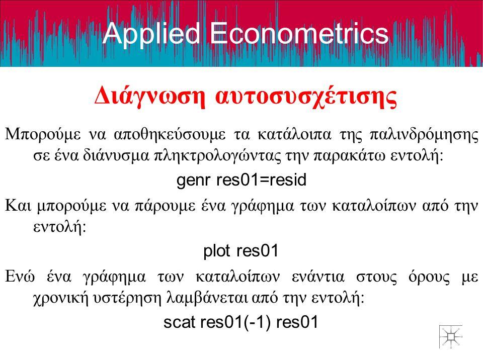Applied Econometrics Διάγνωση αυτοσυσχέτισης Μπορούμε να αποθηκεύσουμε τα κατάλοιπα της παλινδρόμησης σε ένα διάνυσμα πληκτρολογώντας την παρακάτω εντ