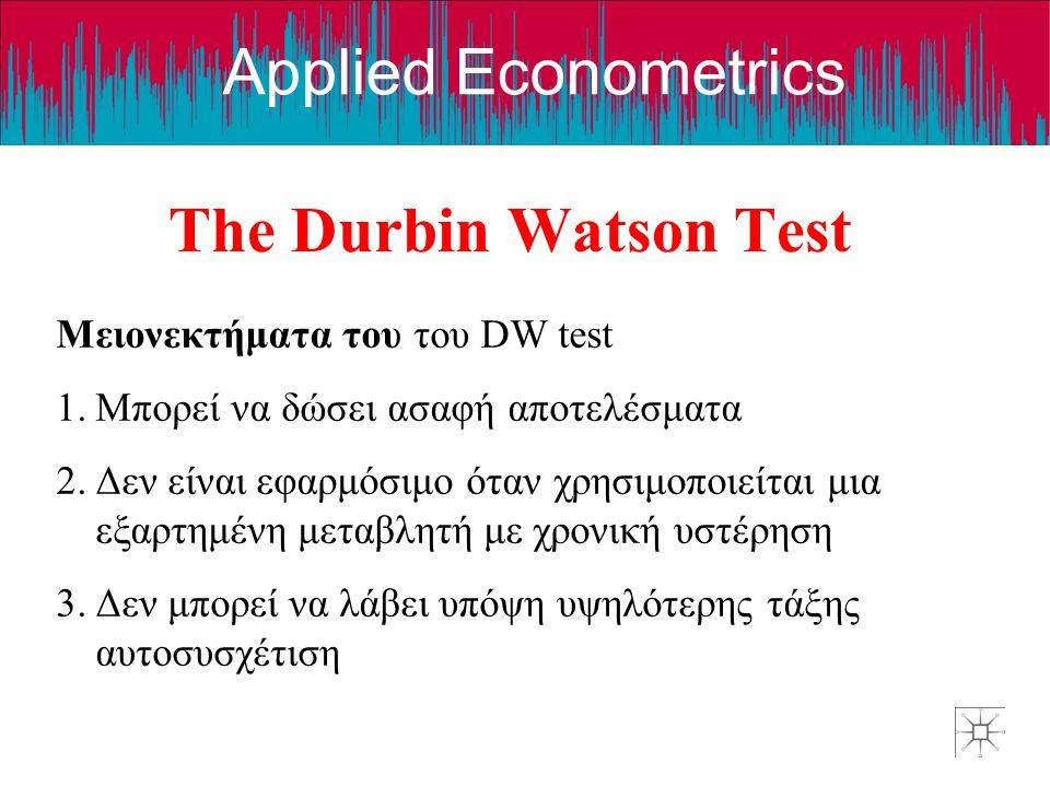 Applied Econometrics The Durbin Watson Test Μειονεκτήματα του του DW test 1.Μπορεί να δώσει ασαφή αποτελέσματα 2.Δεν είναι εφαρμόσιμο όταν χρησιμοποιε