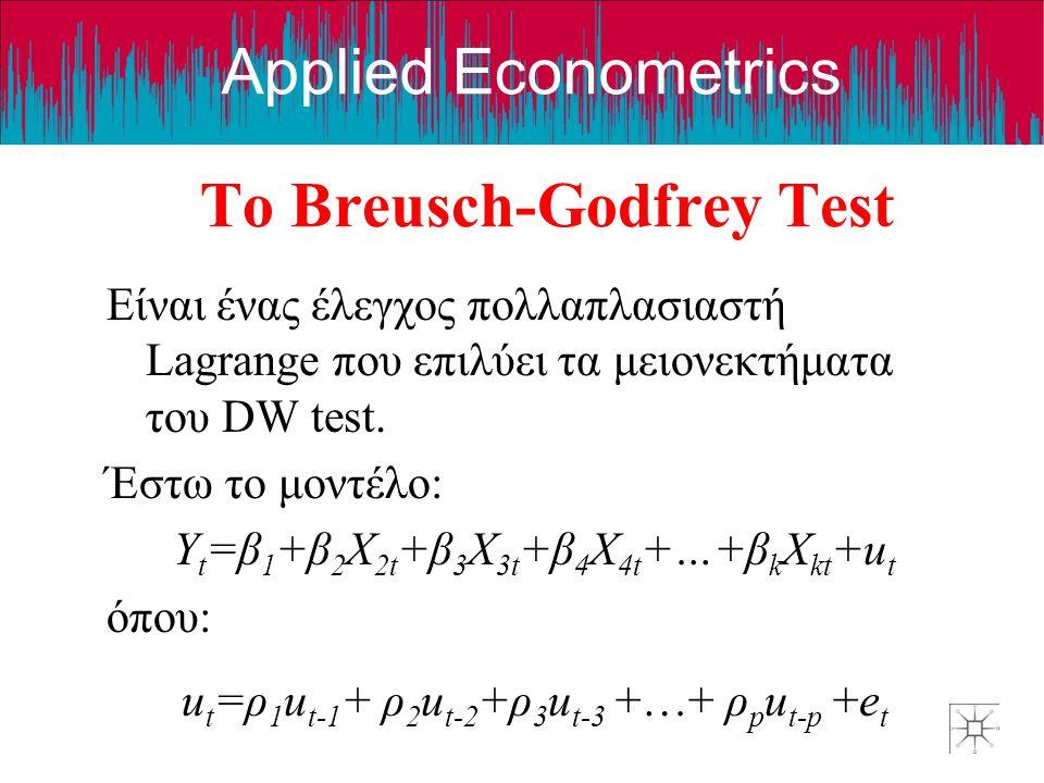 Applied Econometrics Το Breusch-Godfrey Test Είναι ένας έλεγχος πολλαπλασιαστή Lagrange που επιλύει τα μειονεκτήματα του DW test. Έστω το μοντέλο: Y t