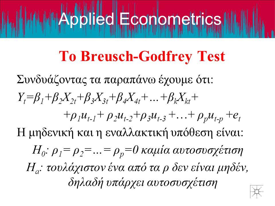 Applied Econometrics Το Breusch-Godfrey Test Συνδυάζοντας τα παραπάνω έχουμε ότι: Y t =β 1 +β 2 X 2t +β 3 X 3t +β 4 X 4t +…+β k X kt + +ρ 1 u t-1 + ρ
