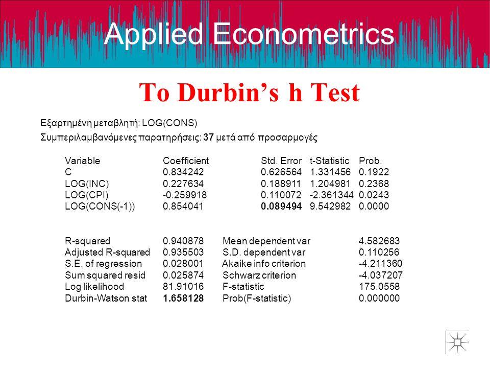 Applied Econometrics Το Durbin's h Test Εξαρτημένη μεταβλητή: LOG(CONS) Συμπεριλαμβανόμενες παρατηρήσεις: 37 μετά από προσαρμογές VariableCoefficientS