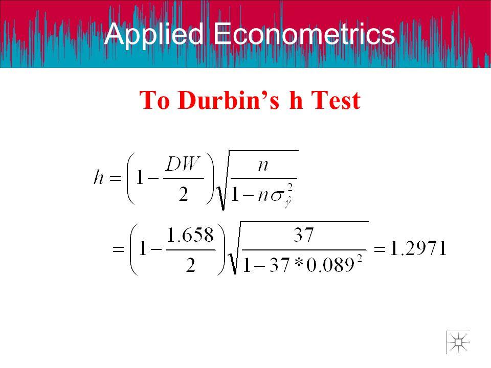 Applied Econometrics To Durbin's h Test