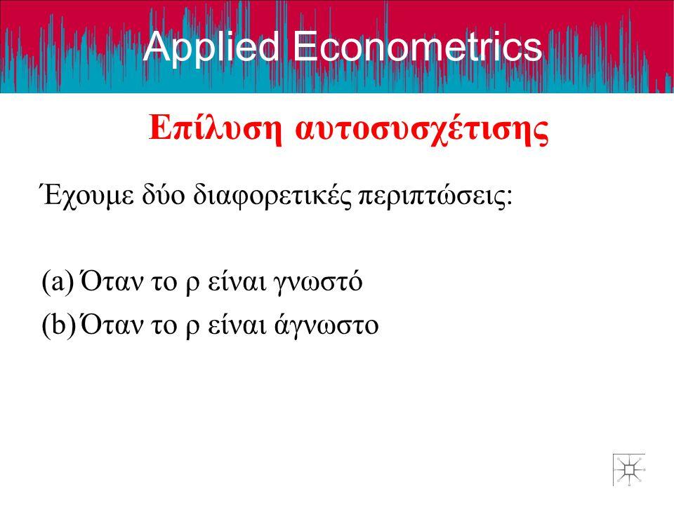 Applied Econometrics Επίλυση αυτοσυσχέτισης Έχουμε δύο διαφορετικές περιπτώσεις: (a)Όταν το ρ είναι γνωστό (b)Όταν το ρ είναι άγνωστο