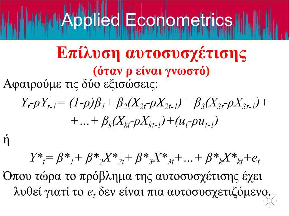 Applied Econometrics Επίλυση αυτοσυσχέτισης (όταν ρ είναι γνωστό) Αφαιρούμε τις δύο εξισώσεις: Y t -ρY t-1 = (1-ρ)β 1 + β 2 (X 2t -ρX 2t-1 )+ β 3 (X 3